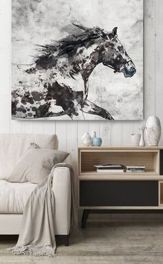 Running Wild Horse Extra Large Horse, Horse Wall Decor, Brown Rustic Horse, Large Contemporary Canvas Art Print up to by Irena Orlov Abstract Canvas, Canvas Art Prints, Canvas Wall Art, Horse Paintings On Canvas, Abstract Horse Painting, Wolf Painting, Art Paintings, Abstract Animals, Elephant Canvas Art