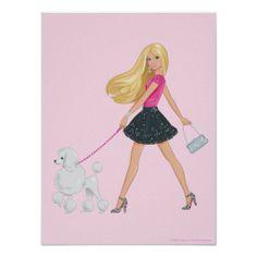 Barbie walking her poodle posters Barbie Sirena, Cumpleaños De Barbie, Habitaciones De Perros, Decoración De Artículos Para Casa, Dibujo Mujer, Pasear Al Perro, Pósteres, Muñecas Barbie, Caniche