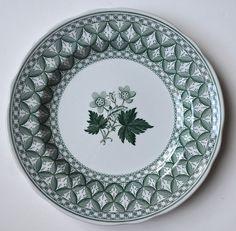Green Transferware Salad Plate Spode Copeland Lattice and Geraniums Flowers