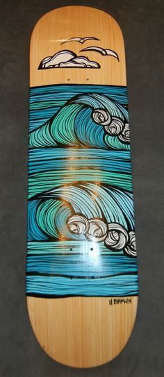 Heather Brown Original Painting on Bamboo Skateboard