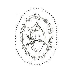 Owl Printable Embroidery Pattern Woodland Critter Digital Downloadable