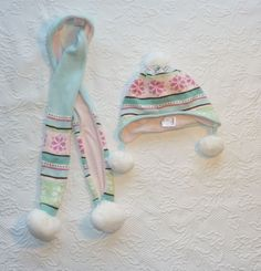 Gymboree WINTER BALLERINA Blue Pink Hat and Scarf Girls size 5-7 #Gymboree #Beanie