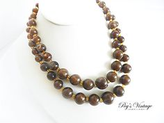 Chocolate Caramel Brown Marbled Two Strand by PegsVintageJewellery, $14.00