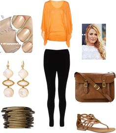 """""""Orange and Brown go great together :)"""" by vneriah ❤ liked on Polyvore"""