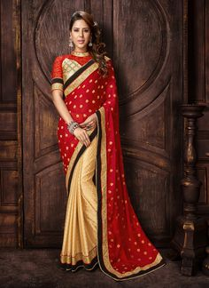 True beauty will come out out of your dressing design with this Beige and Red Jacquard Saree. The ethnic Beads & Lace work at the clothing adds a sign of attractiveness statement with your look. Buy Online Exclusive Designer Ethnic Saree, Wedding Wear, Party Wear, Ceremonial Wear, Sarees, Shari, Sari, Indian Saris For women. We have large range of Designer Exclusive Sarees Online in our website with the best pricing and unique designs shipping to World Wide.