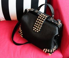 Black Faux Leather Gold Studded Bag //Price: $46.99 & FREE Shipping //   #shopping #fashion #wicced #clothing