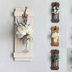 Rustic Home Decor, Set of 2 Mason Jar Sconces, Hanging Mason Jar Sconce,Mason Jar Decor,Wall Sconce,Wall Decor,Mason Jar Sconce with Flowers