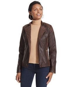 Chico's Studded Faux-Leather Jacket #chicos  #chicossweeps
