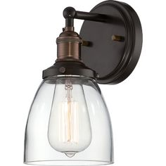 (5-7) LR wall, stair wall, MBrm bedside, desk upstairs...Great sconce light! Nuvo Lighting Vintage 1 Light Sconce