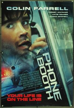 Phone Booth is a 2002 American psychological thriller film about a man who is held hostage in a telephone booth by a sniper. It stars Colin Farrell, Forest Whitaker, Katie Holmes, Radha Mitchell and Kiefer Sutherland. Streaming Movies, Hd Movies, Movies Online, Movies And Tv Shows, Action Movies, Suspense Movies, Colin Farrell, Movies To Watch Free, Great Movies