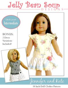 Jelly Bean Soup Designs Jennifer and Kate Doll Clothes Pattern for 18 inch American Girl Dolls - PDF