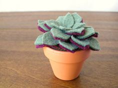 Small Felt Succulent // Artificial Potted Plant by OrdinaryMommy, $34.00
