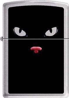 Black Cat Feline Eyes~  Cat Lovers Brushed Chrome Zippo Lighter New