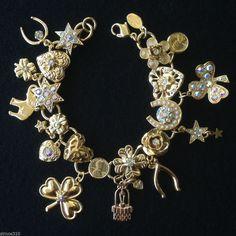 Kirks Folly Signed Lucky Charm Bracelet Aurora Borleais Crystals 7.5 inch NIB #KirksFolly #Traditional