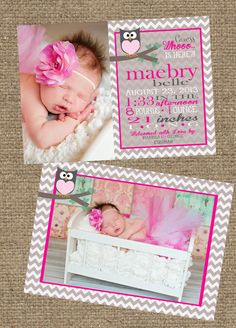 Chevron Owl 5x7 Photo Baby Girl Birth Announcement Card by SSDdesign
