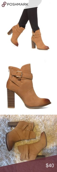 Camel Booties The perfect fall booties! They are sleek, well made and look expensive! Only worn once or twice. Faux leather. Ombré treatment on the toe. Back zipper enclosure. Shoe Dazzle Shoes Ankle Boots & Booties