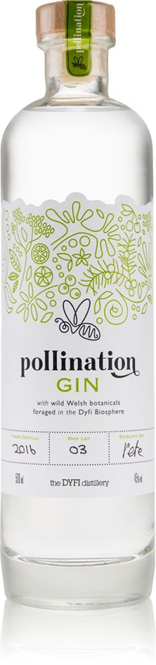 Pollination Gin: made with 29 botanicals including 19 which are locally foraged, including chamomile, lemon balm, rowan berry and bramble. Others are obtained from the foothills of Mount Snowdon and around the Welsh county of Gwynedd. A creamy and herbaceous gin