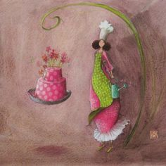 Gaelle Boissonnard art card birthday green pink girl holding water can growing flowers on pink cake background light mauve blank card square card