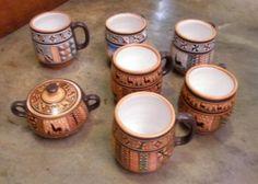 Set aus 6 handbemaleten #Kaffee #Pots und Zuckerdose aus #Peru