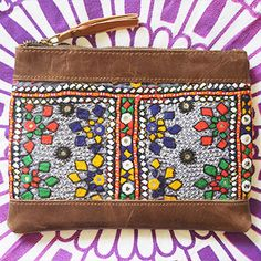 Vintage Banjara Clutch with Dark Brown Leather in Yellow, Red, Green, Purple, Black and Yellow