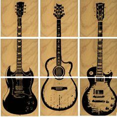 Les Paul Custom Electric Guitar Wood Wall Art by CedarWorkshop, $129.00