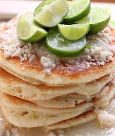 "Key Lime Pancakes Recipe ~ ""they are going to knock your socks off!""  These would be great for a St. Patrick's Day breakfast!"