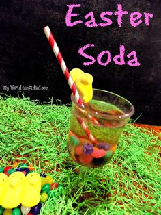 Easter Soda Recipe Easter soda is an easy, low sugar recipe. Its made with seltzer water. The Jelly Beans coating comes off and changes the flavor and color of the drink as it sits. Its actually ki...