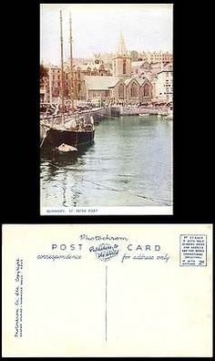 Guernsey Old Colour Postcard St. Peter Port Harbour Boats Church Clock Tower Car