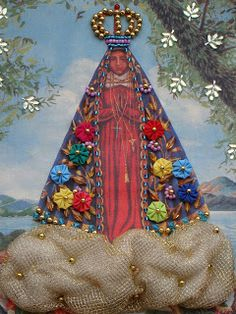 Rose Figueiredo Crafts To Make, Arts And Crafts, Grimoire Book, Arte Popular, Corpus Christi, Blessed Mother, Vintage Embroidery, Metal Crafts, Book Of Shadows