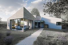 House in East Renfrewshire in Harling and Caithness Stone Creative Design, Interior Architecture, Exterior, Cabin, Mansions, House Styles, Outdoor Decor, House Ideas, Inspirational