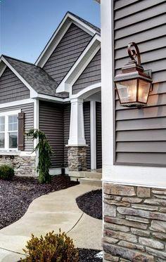 Exterior House design with stone and gray. Exterior House design with stone and gray. Exterior Colonial, Traditional Exterior, Exterior Siding, Exterior House Colors, Exterior Design, Gray Siding, Exterior Remodel, Grey Exterior, Craftsman Exterior