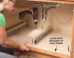 How to Build Kitchen Sink Storage Trays - Step by Step: The Family Handyman Kitchen Sink Storage, Under Sink Storage, Kitchen Sink Faucets, Storage Cabinets, Kitchen Organization, Extra Storage, Organizing, Cabinet Drawers, Garage Storage