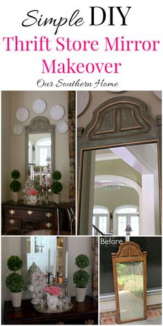 Thrift store mirror becomes a French Country treasure with a simple paint technique by Our Southern Home