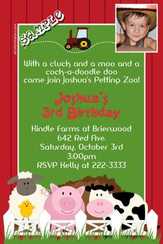 Barnyard Petting Zoo Birthday Invitations - Get these invitations RIGHT NOW. Design yourself online, download and print IMMEDIATELY! Or choose my printing services. No software download is required. Free to try!