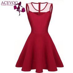 ACEVOG Women elegant dresses Summer vestidos 2016 Sexy Lady 4 colors Mesh High Waist Pleated Casual Knee Length Swing Dress - shopaffortable