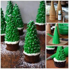 Christmas Tree Cupcakes #cupcakeideas #cupcakerecipes #food #yummy #sweet #delicious #cupcake