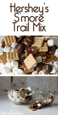 Hershey's S'more Trail Mix - Snack recipes - Studentenfutter Yummy Snacks, Yummy Treats, Sweet Treats, Snack Recipes, Dessert Recipes, Yummy Food, Healthy Snacks, Camping Recipes, Chex Mix
