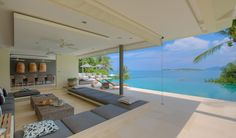 Fabulous sunken living room, which seems to melt into the lustrous infinity-edge pool.