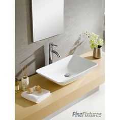Shop Fine Fixtures White Vitreous China Rectangle Vessel Sink - Overstock - 9723465