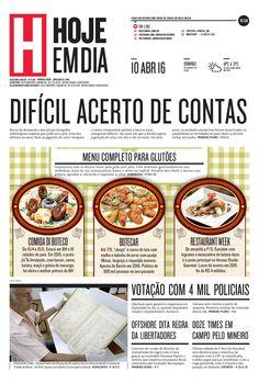 Capa do dia 10/04/2016 #HojeEmDia #Jornal #Notícias #News #Newspaper