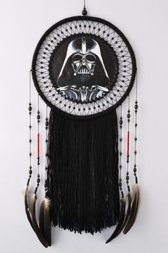 Star Wars Darth Vader Gift Decor Wall Art Darthvader Inspired Fan Gifts Starwars Character Hanging Wall Dream Catcher Dreamcatcher ✪GUARDIAN OF THE DREAMS DARTH VADER - Unique large dream catcher inspired by Star Wars character. Exclusive and creative gift for Star Wars Fan. - Black and