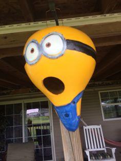 Minion birdhouse gourd