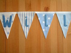 Personalised banner, bunting. Baby boy. Christening gift. Fabric flags. Blue stripes, gingham. stars, spots. Trains, tractors.