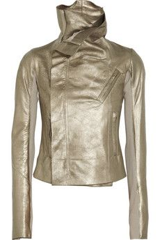 Rick Owens Classic Metallic Textured-Leather Biker Jacket $2,575 #Metallics #Studs