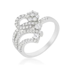"""Amazon.com: Alexander James """"Street"""" Silver-tone Clear Cubic Zirconia Floral Ring: Jewelry"""