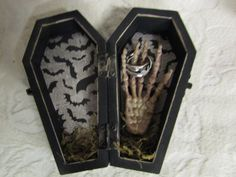 Halloween wedding coffin ring box https://www.etsy.com/listing/246309103/halloween-gothic-aged-black-coffin