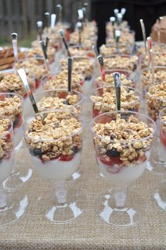 Bungalow Blue Interiors - Home. granola in cups for a group.