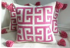 Greek Key Pillow in Pink and Creamy White by CheekyMonkeyHome