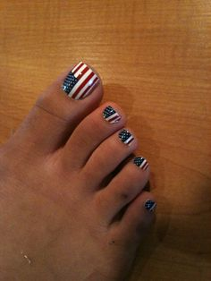 Memorial Day nail art, American flag nails - USA Pedi, of July Pedicure, stars and stripes, Red Toenails, Blue Nails, Pedicure Designs, Toe Nail Designs, Pedicure Ideas, Gorgeous Nails, Pretty Nails, Pretty Toes, Memorial Day