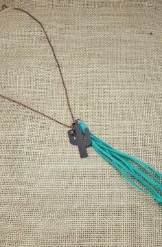 Cactus Charm Necklace With Turquoise Fringe